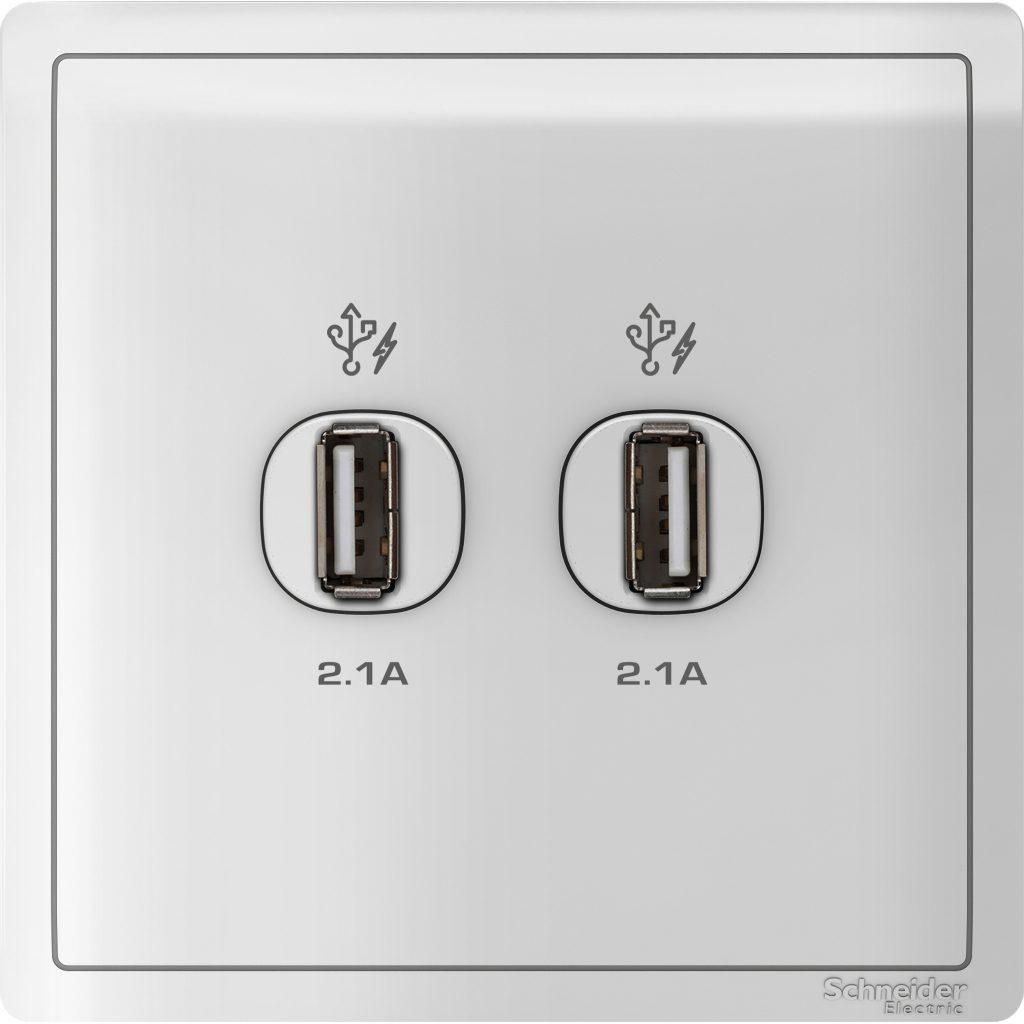 Outlet USB 2Lb Pieno Putih Tipe E8232USB_WE