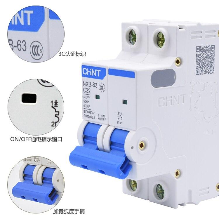 1-Pcs-Chint-NXB-63-Air-Switch-2-P-Rumah-Tangga-Miniature-Circuit-Breaker-C63A-Air